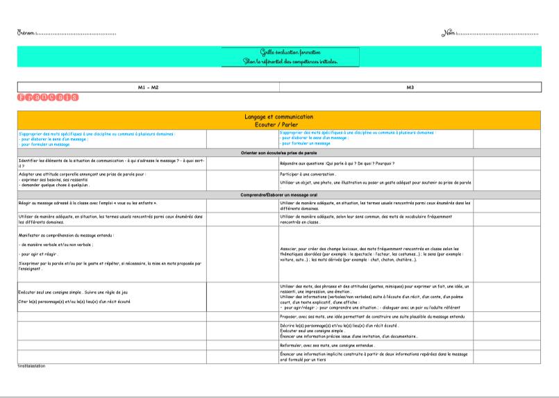 Grille d'évaluation FORMATIVE - 1institalastation